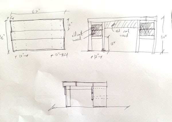 Plan and elevation drawings of the desk.