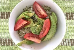 Whats For Lunch? Avocado, Alfalfa Sprouts, Tomato, Olive Oil And Sea Salt