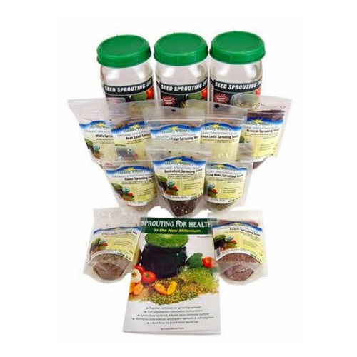 3 Jar Sprouting Starter Kit: Three 1 Quart Sprouting Jars, Instructions & 2.5 Lbs Organic Seeds: Alfalfa, Brocolli, Radish, Clover, Lentil, Mung Bean, Buckwheat, Bean Salad Mix, More