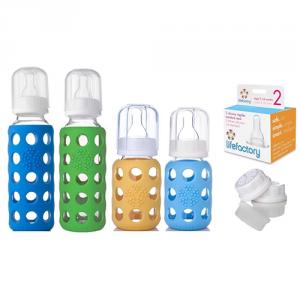 Lifefactory Glass Baby Bottles 4 Pack Starter Kit (9 Oz. & 4 Oz. – Boys)