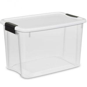 Sterilite Ultra Storage Box, White Lid See-Through Base With Titanium Latches, 6-Pack