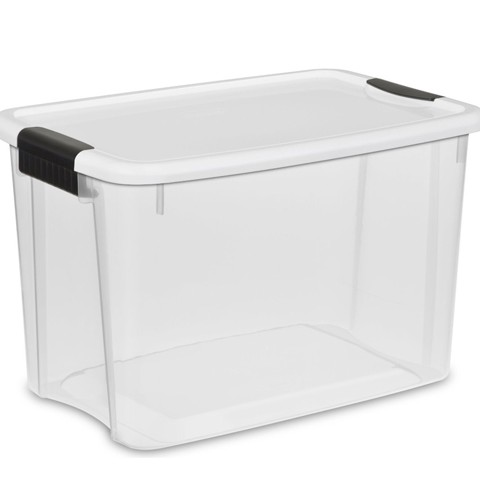 Sterilite Ultra Storage Box, White Lid See-Through Base With Titanium Latches, 6-Pack