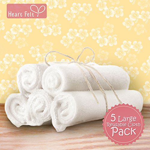 Heart Felt 100 Bamboo Cloth Natural Baby Wipes 5 Extra Large Reusable Wipes For Wipes Wash Cloths And Dribble Bibs Versatile Soft And Gentle On Babys Skin 0 0