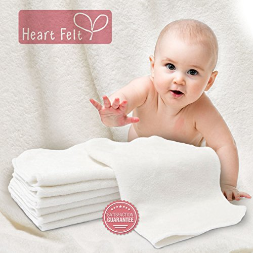 Heart Felt 100 Bamboo Cloth Natural Baby Wipes 5 Extra Large Reusable Wipes For Wipes Wash Cloths And Dribble Bibs Versatile Soft And Gentle On Babys Skin 0 2