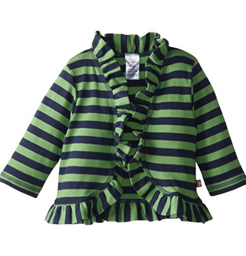 Zutano Baby Girls' Primary Stripe Ruffle Cardigan Sweater