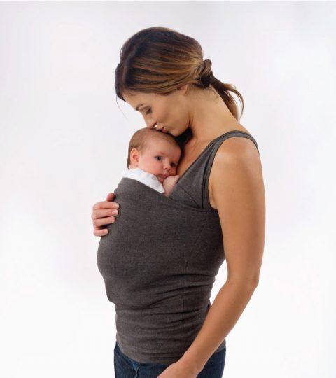 B Lalabu Soothe Shirt Simple Gray Kissing Baby
